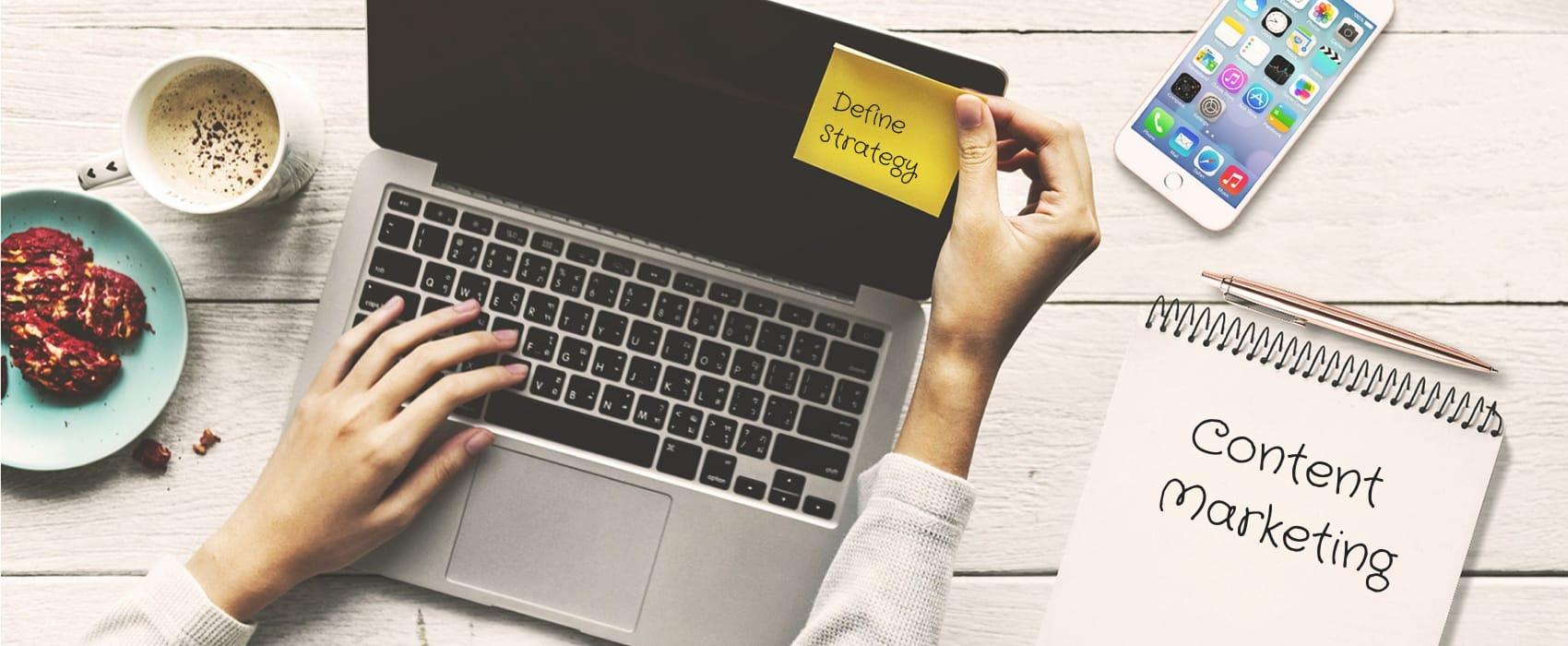 laptop with sticky note strategy
