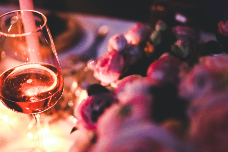 wine glass on table