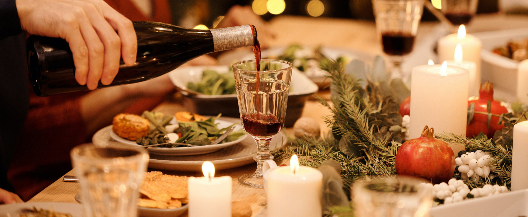 wine and christmas dinner